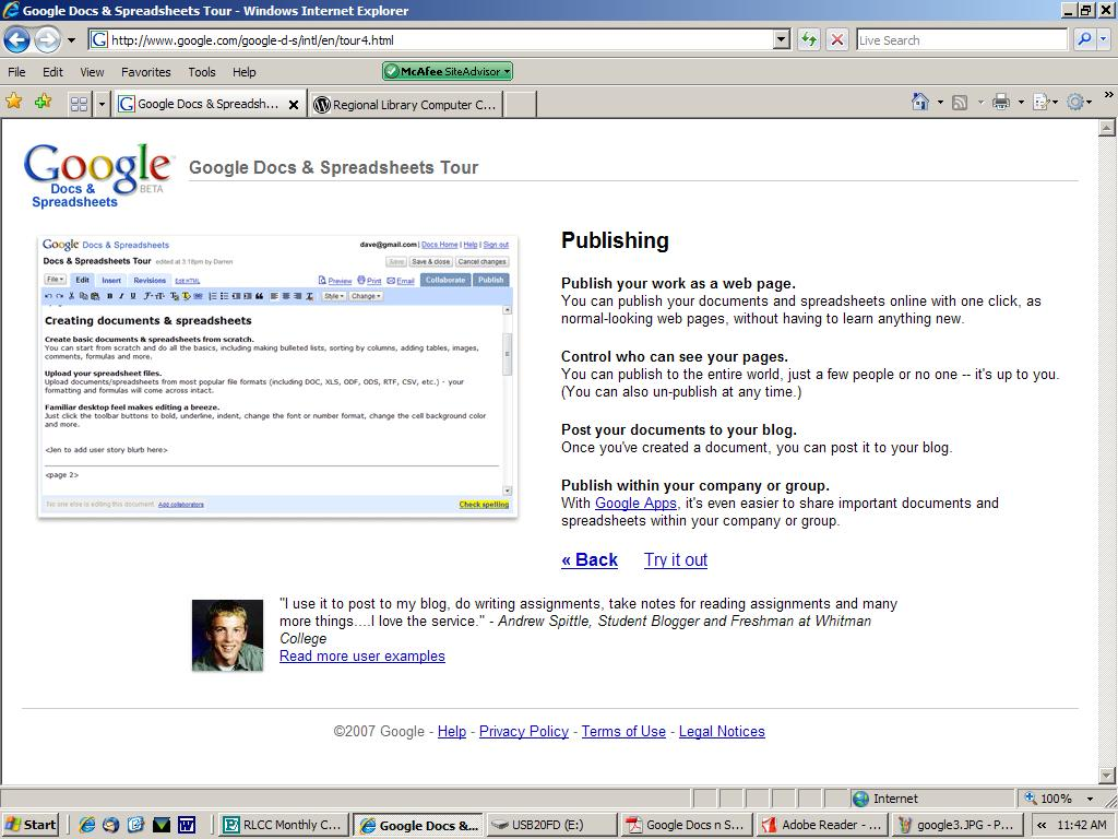 Google Docs RLCC - Google word processor