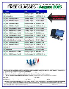 August 2015 Classes
