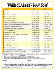 May 2015 Classes