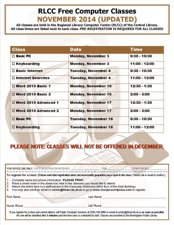 November 2014 class schedule2