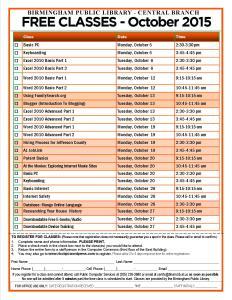 October 2015 Classes