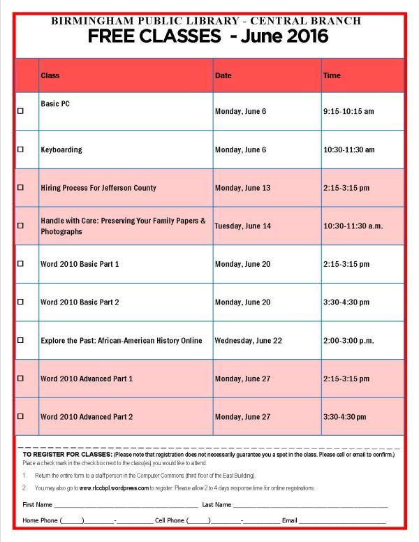 June 2016 Computer Class Schedule