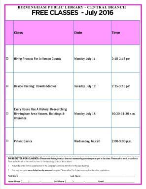 July 2016 Computer Class Schedule