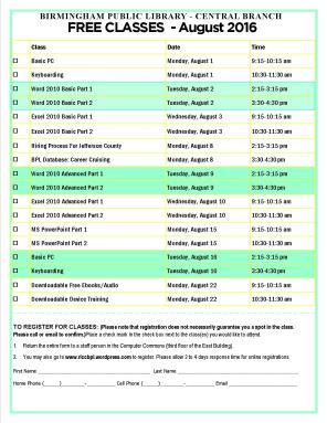 August 2016 Computer Class Schedule