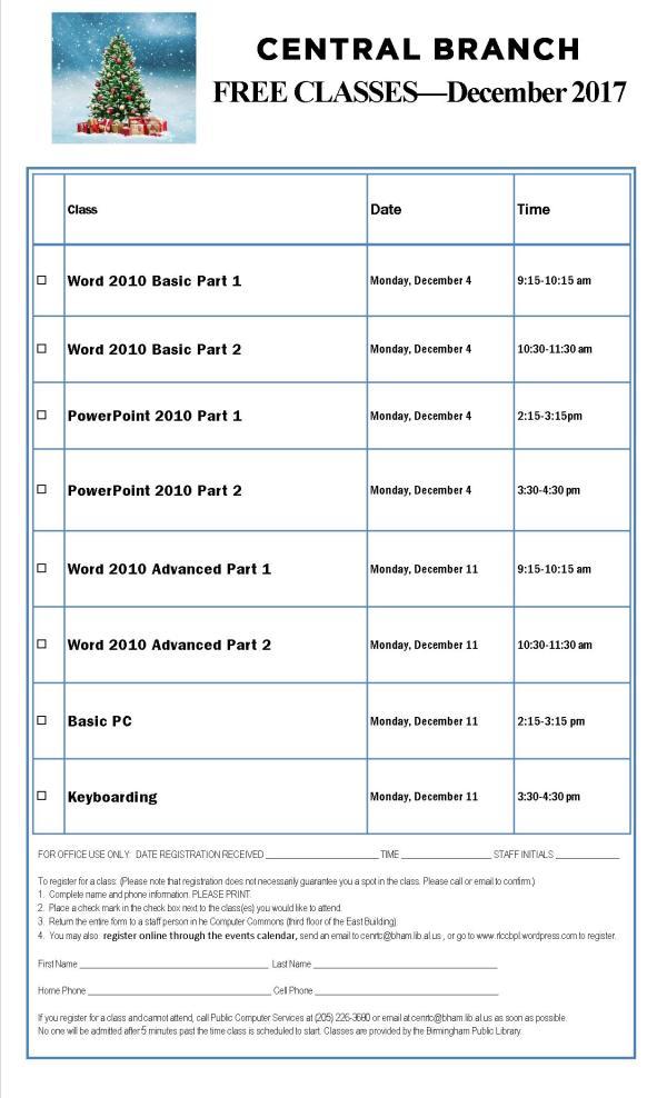 December 2017 Classes F
